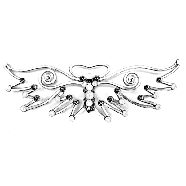 Angle Wing Bow Tie Silver Moonbeams