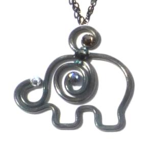 Baby Elephant Pendant Charcoal Steel