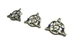 Celtic Knot Triquetra Brooches Pewter Semi-Precious