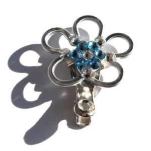 Flower Hair Clip Silver Sea Blue