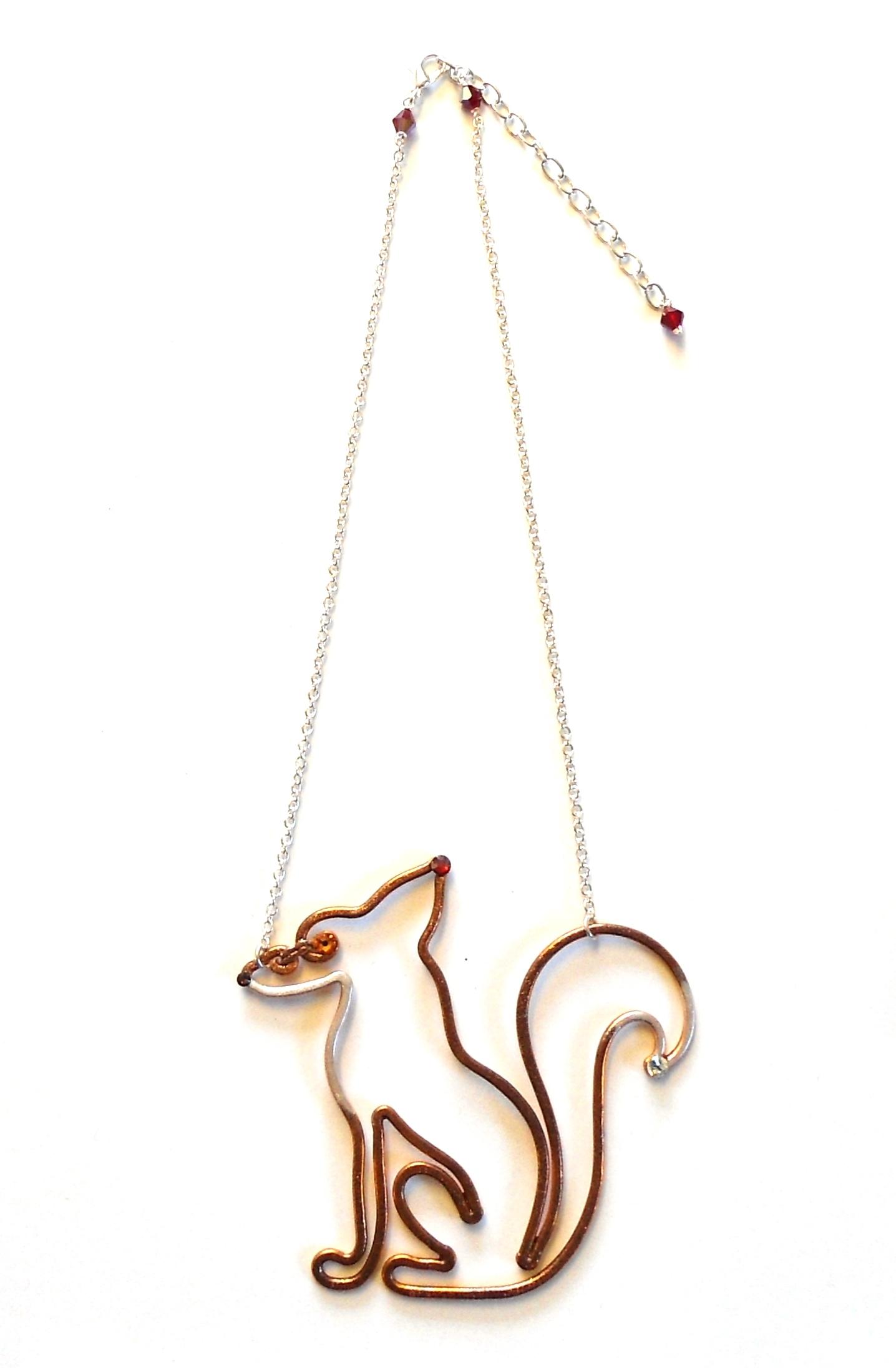 Fox Necklace Copper Enamel