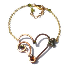 Heart Treble Bass Clef Anklet Bronze Hazel