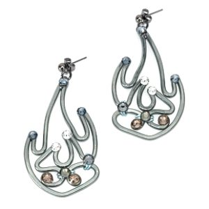 Pheonix Flames Earrings Charcoal Steel