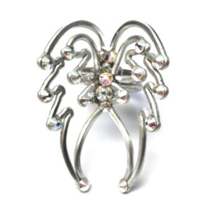 Angel Wings Ring Silver Crystal Iridescent