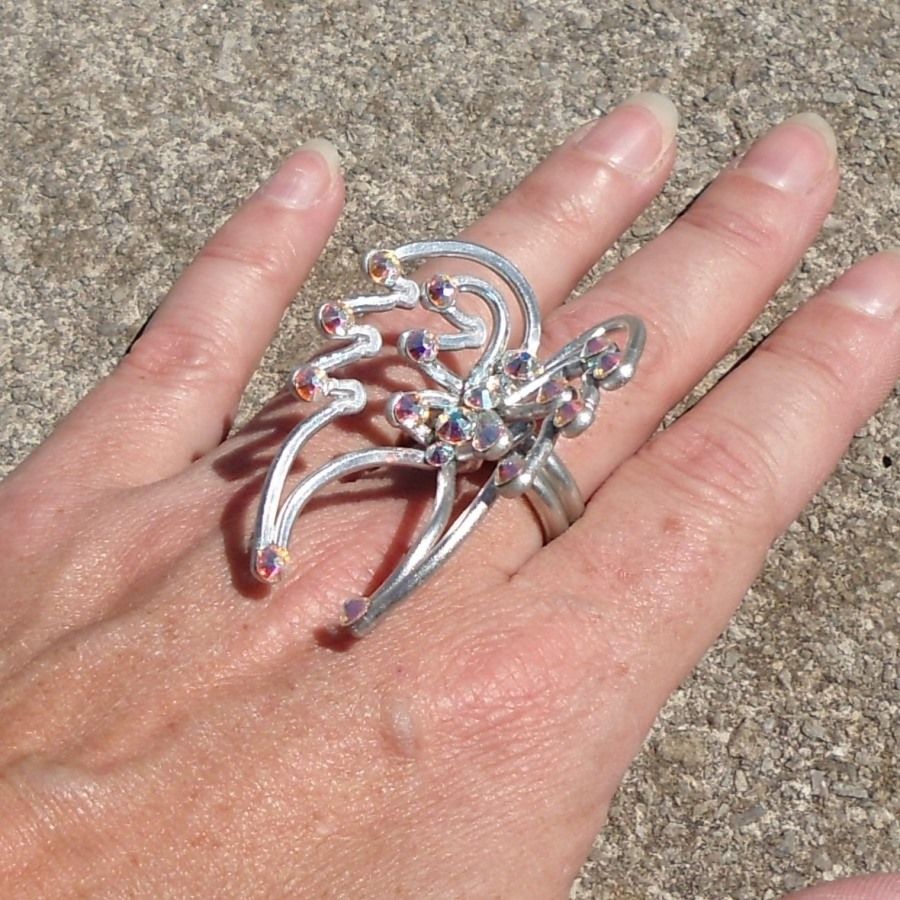 Angel Wings Ring Silver Crystal Iridescent | Lisa Kelleher Mythical ...