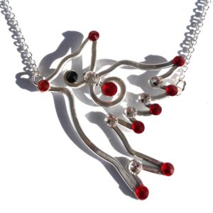 Cardinal Necklace Silver Rich Reds Main