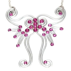 Fairy Wings Necklace Silver Fuchsia Main