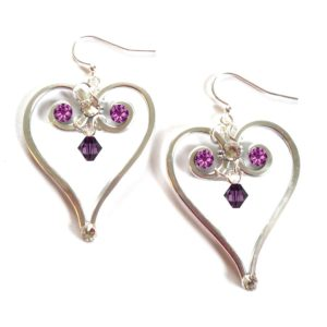 Heart Earrings Silver February Amethyst