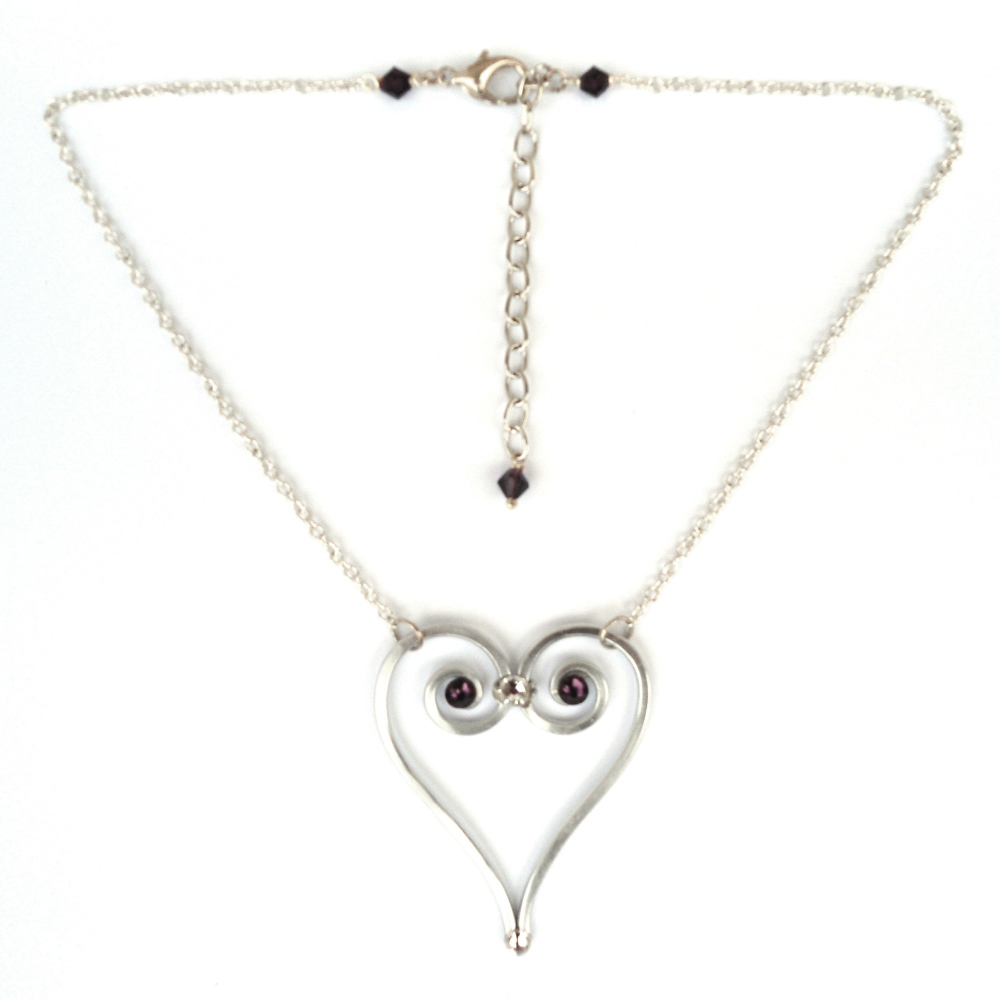 heart of strength necklace silver amethyst lisa kelleher