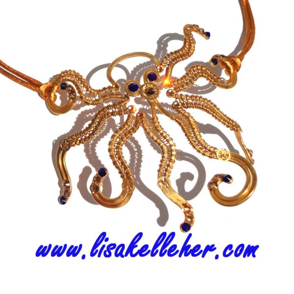 Octopus Masquerade Mask Eye Patch Gold Royal Blues