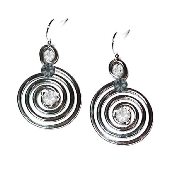 Spiral Earrings Silver Crystal Ice