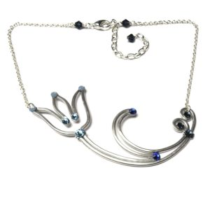 Tulip Necklace Silver Blue Morpho