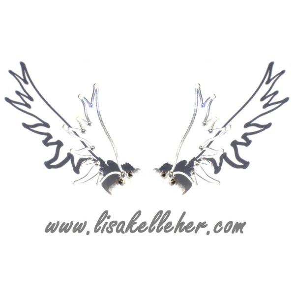 Angel Wings Hair Clips Silver Moonlight