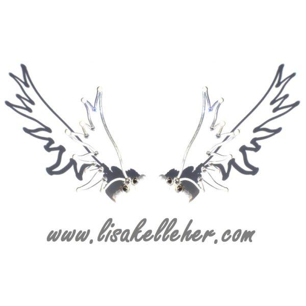 Angel Wings Hair Clips Silver Moonlight