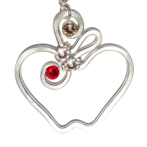Apple Pendant Silver Ruby Main