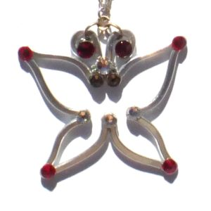 Butterfly Pendant Silver Ruby Main