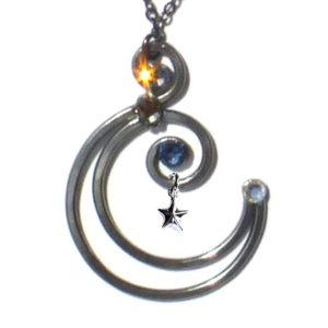 Crescent Moon Pendant Charcoal Steel