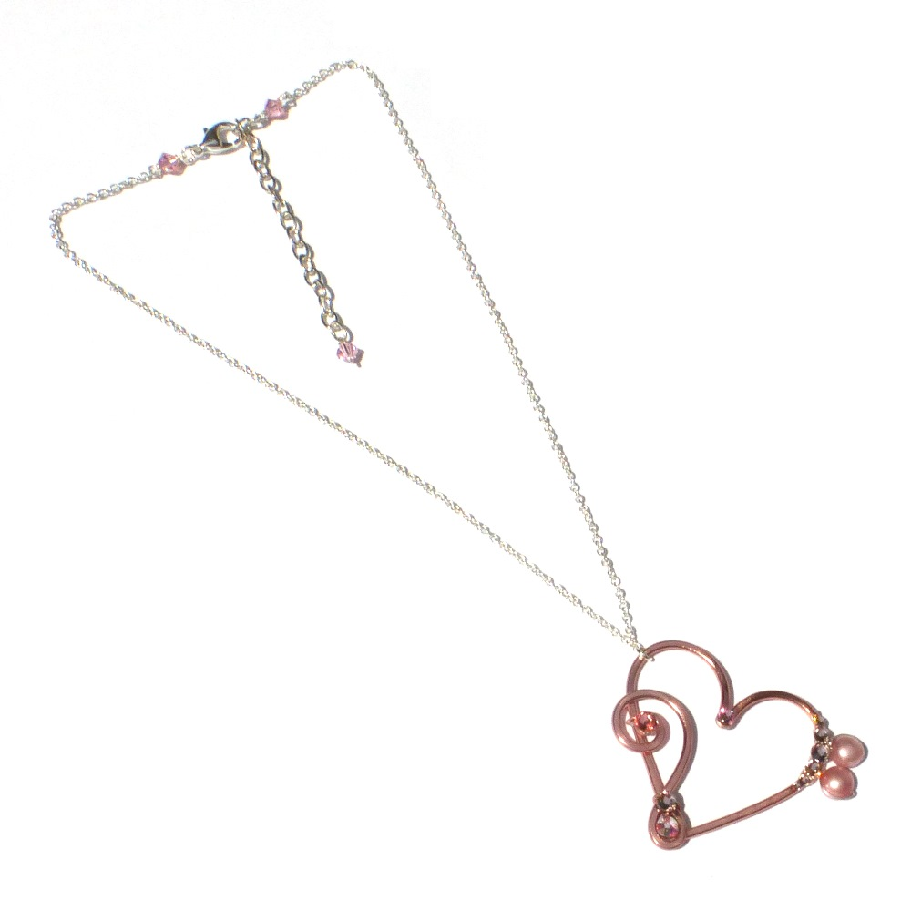 Heart treble bass clef pendant rosa pearl dots rose gold blush heart treble bass clef rose gold left aloadofball Choice Image