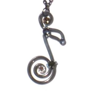 Music Note Pendant Charcoal Steel Main