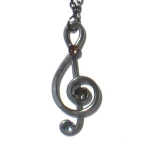 Treble Clef Pendant Charcoal Steel Main