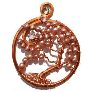 Tree of Life Autumn Leaves Pendant Copper Rosewood Main