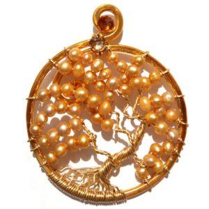 Tree of Life Autumn Leaves Pendant Gold Amber Main
