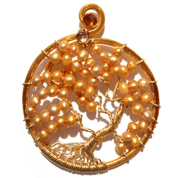 Tree of Life Autumn Leaves Pendant Gold Amber Main