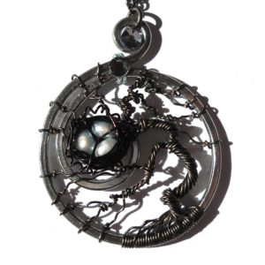 Tree of Life Bird Nest Pendant Charcoal Baby Blue Main