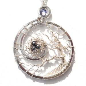 Tree of Life Bird's Nest Pendant Silver Peacock Main
