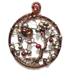 Tree of Life Fruit Harvest Pendant Bronze Cherry