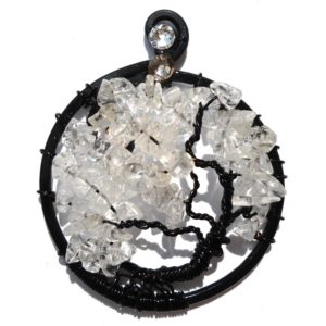 Tree of Life Full Bloom Pendant Midnight Quartz