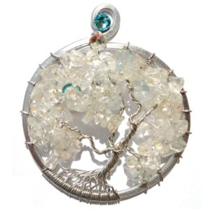 Tree of Life Full Bloom Pendant Silver Aquamarine