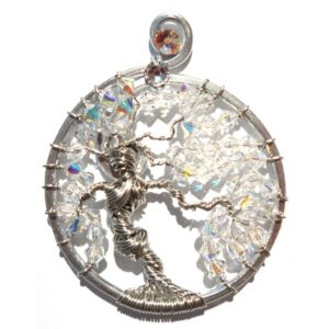 Tree of Life Goddess Pendant Silver Opalescent