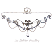Handmade Silver Elf Queen Circlet With Chain Garland and Crystal Drops