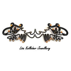 Black Wire Two Headed Dragon Bow Tie with Gold Crystals