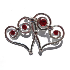 Double Heart Brooch Silver Rich Reds