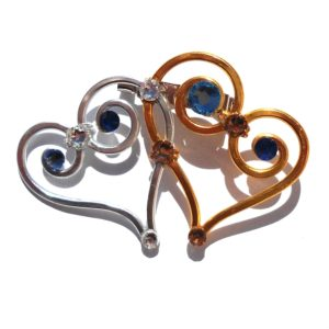 double-heart-brooch-silver-and-gold