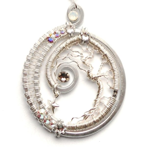 Crescent Moon Tree of Life Silver Wire Wrapped Pendant Moonlight Crystals