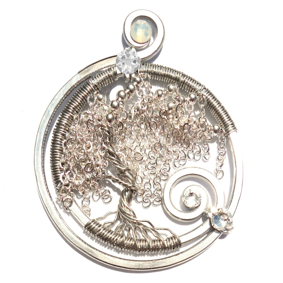 Tree Of Life Weeping Willow Pendant Silver Starlight