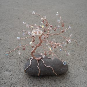 Tree of Life Standing Rock Rose Gold Pearl Fruit and Nest