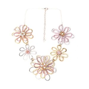Daisy Chain Necklace Mixed Gold