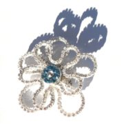 Fossilized Anemone Brooch Pin Everlasting Flower Corsage or Boutonniere Silver Aquamarine Starshine Right